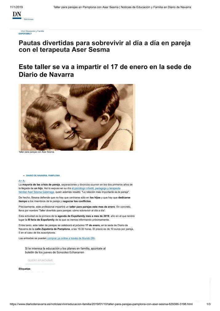 Taller para parejas en Pamplona con Ase...ucación y Familia e